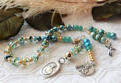 Turquoise & Teal Silver & Gold Divine Mercy Chaplet W/Charms Saints/Cross/Madonna/Christ