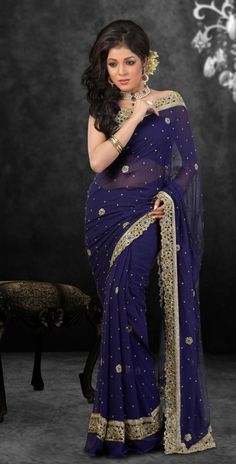 Navy Blue Faux Georgette Saree 15520 With Unstitched Blouse - Modern Pakistani Outfits, Indian Outfits, Beautiful Saree, Beautiful Outfits, Navy Blue Saree, Indische Sarees, Reception Sarees, Bridesmaid Outfit, Bridesmaid Ideas