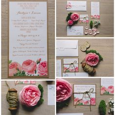 Pink stationery .. Garden roses mood.. Made by Danielle Design