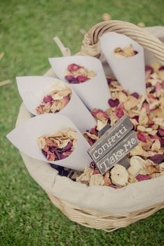 natural dried delphinium petals or coloured rose petals confetti wedding toss / / http://www.deerpearlflowers.com/wedding-exit-send-off-ideas/