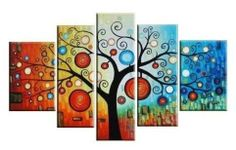 Hand painted oil painting by abstract imports .com - bright colours - fun and happy tree
