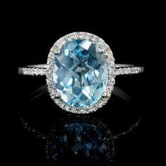 Diamond and Blue Topaz 14k White Gold Ring