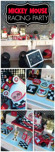 You have to see this Mickey Mouse racing birthday party! See more party ideas at http://CatchMyParty.com!