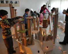 "Amazing building at ReMida Bologna Terre d'Acqua ("",) Deconstructed Role Play, Full Day Kindergarten, Reggio Emilia Approach, Role Play Areas, Continuous Provision, Reggio Classroom, Construction Area, Block Play, Interactive Installation"