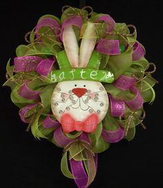 Easter Wreath, Easter Bunny Wreath, Front Door Wreath, Poly Mesh Wreath, Door Wreath -