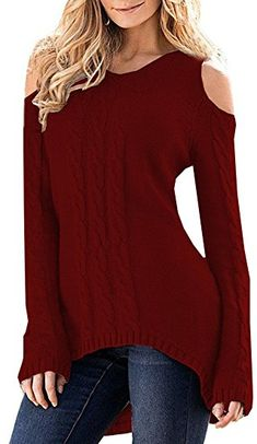 2c088c8665b Merryfun Women s Cold Shoulder Sweater Fall Long Sleeve Knit Pullover Tops  Wred
