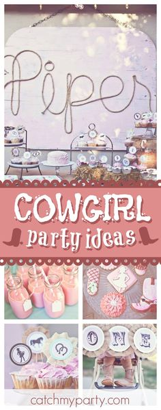 Check out this adorable Sweet & Shabby Cowgirl Birthday Party. The cookies are awesome!! See more party ideas and share yours at CatchMyParty.com