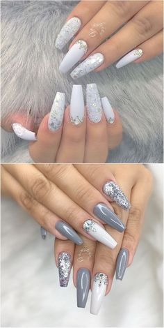 The most popular: Nail Art Trends 2018 - white .- The most popular: Nail Art Trends 2018 – Christmas decorations 2019 - Cute Acrylic Nails, Glitter Nail Art, Cute Nails, Purple Glitter, Silver Acrylic Nails, Silver Glitter, Autumn Nails Acrylic, Acrylic Nail Designs Glitter, Acrylic Gel