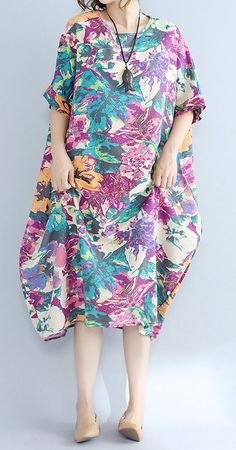 Women loose fit plus over size retro flower pocket dress maxi tunic trendy chic #unbranded
