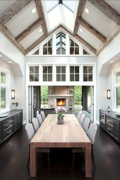 Dining Room. This Transitional Dining Room will seat any family for the holidays.  The fireplace at the end of the room is a nice touch.    CLICK ON PIN AND LEARN HOW TO MAP PINS WITH YOUR ARCHITECTURE BUSINESS