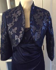Navy sequin bolero jacket and navy satin knee length dress