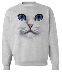 Skip N' Whistle Cat Face Blue Eyes Pullover Sweatshirt Jumper unisex sizing