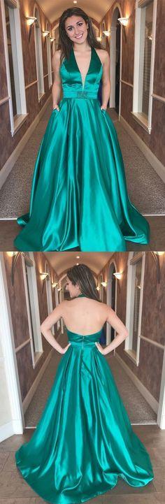 2019 Green Prom Dresses Long, Elegant Prom Dresses With Pockets, A Line Prom Dresses Open Back, Satin Prom Dresses V Neck #MillyBridal #greendress #dresseswithpockets #openback
