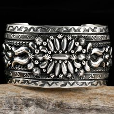 "Cuff bracelet | Darryl Becenti (Navajo). ""Tularosa""  Sterling silver"