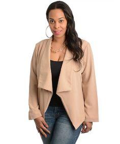 2LUV Plus Women's Open Front Drape Lapel Plus Size Blazer Taupe 2xl(JT4039HX) |...plussize-trends.com