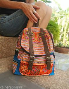 Hmong Hill Tribe Cotton Rainbow Backpack Ruck Sack Day Bag Boho Hippie Indie