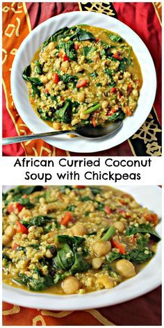 This African curried coconut soup with chickpeas is rich in warm spicy flavors and in health!