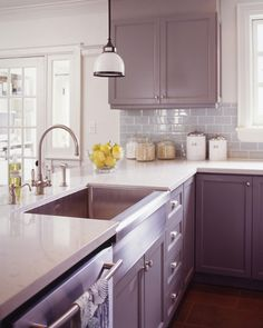 Franke Manor House apron front stainless steel sink - Modern Farmhouse Kitchen / Get inspired by this modern farmhouse kitchen by designer Emma Sims-Hilditch with a muted color palette and subway tile backsplash in Dorset, U. Purple Kitchen Cabinets, Kitchen Cabinet Colors, Kitchen Paint, Home Decor Kitchen, New Kitchen, Kitchen Ideas, Grey Cabinets, Kitchen Backsplash, Awesome Kitchen