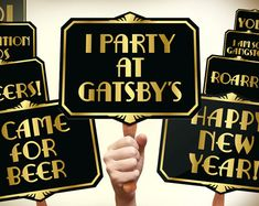 Gatsby photo booth props printable PDF. Great Gatsby props. New years photo booth props. Roaring 20s party photobooth. Proohibition era.