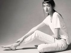 Fei Fei / Painted Margiela denim (stylist's own), Vintage gold chain (stylist's own), Prada leather belt