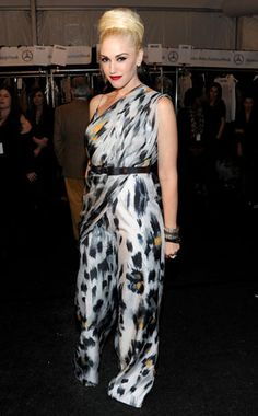 Gwen looks fierce and fabulous in an asymmetrical animal-print gown while presenting her L.A.M.B. collection at Fall 2011 Fashion Week.