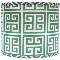 Universal Lighting and Decor Aqua Greek Key Drum Lamp Shade 16x16x13... ($100) ❤ liked on Polyvore featuring home, lighting, green, lamp shades, drum shade lighting, drum shaped lamp shade, green lamp shade, aqua lamp shade and green drum shade
