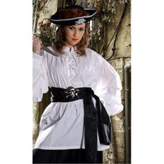 The Pirate Dressing C1010 Grace O Malley Poet Shirt, White - Large, Women's, As Shown