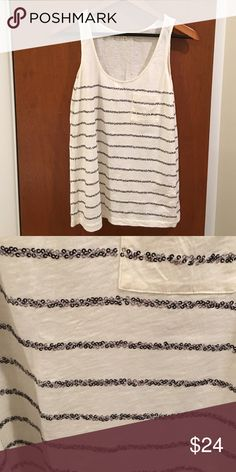 JCREW Sequin Line Tank - NWOT Perfect tank for the .  Cotton.  Hand wash. J. Crew Tops Tank Tops