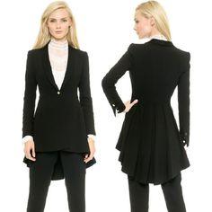 Elegante tailcoat mujeres ruck cola de milano chaqueta delgada de un solo botón 9910 en Blazers de Moda y Complementos Mujer en AliExpress.com | Alibaba Group