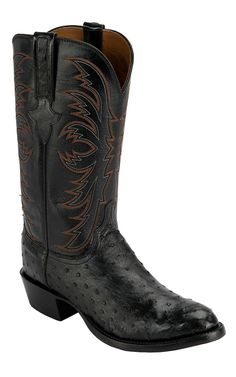 Lucchese® 1883™ Men's Black Full Quill Ostrich Exotic R-Toe Cowboy Boots