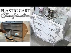 (10) PLASTIC CART TO AN EXPENSIVE LOOKING FRENCH DRESSER | BAROQUE DRESSER FROM PLASTIC CART - YouTube Repurposed Furniture, Diy Furniture, French Dresser, Baroque Furniture, Dollar Tree Decor, Space Saving Storage, Cardboard Crafts, Diy Home Crafts, Decorating On A Budget