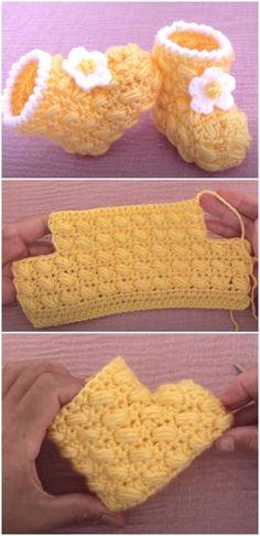 Baby Booties Knitting Pattern, Crochet Baby Boots, Baby Shoes Pattern, Crochet Baby Clothes, Shoe Pattern, Crochet Shoes, Crochet Slippers, Baby Patterns, Booties Crochet