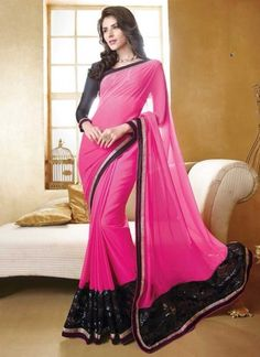 Flawless Magenta Faux Georgette With Black Patch Border Designer Saree http://www.angelnx.com/