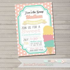 Ice+Cream+Birthday+Party+by+JamieChristineDesign+on+Etsy,+$15.00
