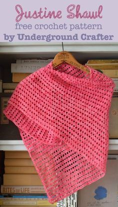 Justine Shawl, free crochet pattern in Malabrigo Sock yarn by Underground Crafter | A simple lace pattern and an unusual construction combine to create a beautiful, asymmetrical triangular shawl. This pattern can be customized to fit your preferred size using any yarn!
