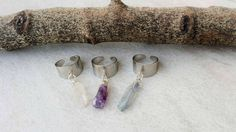 Pack of Three Raw Stone Rings, Amethyst, Clear Quartz, Titanium Quartz Silver Tone Rings, New Year's Eve Offer by Lycidasjewelry on Etsy Raw Amethyst, Bohemian Look, Clear Quartz Crystal, Stone Rings, My Etsy Shop, Crystals, Unique Jewelry, Gift Ideas, Silver