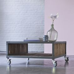table basse en bois et metal recycle vente meubles de salon kaki