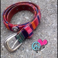☮ FOSSIL Belt ☮ Fossil ✌️ Beautifully Stitched in Boho Colors , Leather Lined , Accented with Silver Rivets ✌️   Sizing is Jr. L - Measures 26'W or Fits Regular Women's Small  ☮ It's NEW & it's Perfect ☮   NO TRADE LOWBALL OFFERS will be Rejected .. HAPPY POSHING ✌️ Fossil Accessories Belts