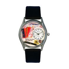 Whimsical Watches Book Lover Black Leather And Silvertone Watch
