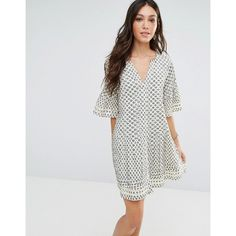Tularosa Ash Dress (£170) ❤ liked on Polyvore featuring dresses, cream, loose cotton dress, loose sleeve dress, creme dresses, sleeved dresses and loose fitting dresses