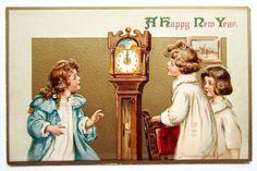 A/S Brundage GIRLS at NEW YEAR Grandfather Clock Postcard EMB #NewYear