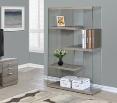 """Monarch Specialties Inc. Reclaimed-Look / Tempered Glass 60"""" Bookcase"""