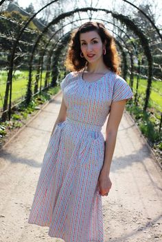 Heyday Vintage - Fleur dress in blue stripes