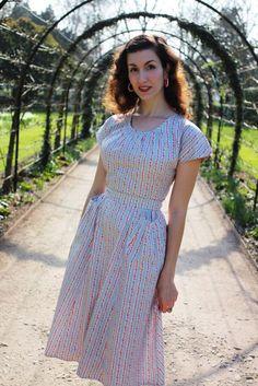 Heyday Vintage - Fleur dress in blue stripes