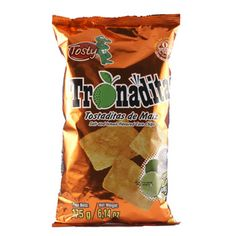 Tronaditas are my favorite junk food snack. They are corn chips from Costa Rica flavored with limon.