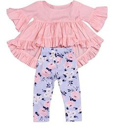 HappyMA 2PC Toddler Baby Girls Outfit Set Pink Ruffle Irregular Hem Blouse Top and Floral Pants Clothes