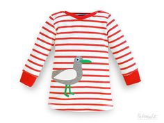 "Wonderful jersey dress made of organic cotton knit with nice appliqué seagull - the perfect baby gift or for babies 1. birthday! Handmade in our small studio in Dresden, Saxony/Germany ++++Save 10% with code ""PINTEREST10"" in our Etsy-Shop+++"