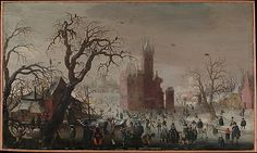 Christoffel van den Berghe (Dutch, ca. 1590–1628 or later). A Winter Landscape with Ice Skaters and an Imaginary Castle, ca. 1615–20. The Metropolitan Museum of Art, New York. From the Collection of Rita and Frits Markus, Bequest of Rita Markus, 2005 (2005.331.1) #olympics #iceskating