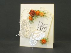 Aaah - orange belongs in this clean, elegant setting! Memory Box Cards, Mom Cards, Fathers Day Cards, Butterfly Cards, Flower Cards, Card Making Inspiration, Making Ideas, Embossed Cards, Heartfelt Creations