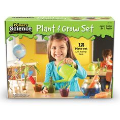The Review Stew | Primary Science Plant & Grow Set & Giveaway | Unique pieces, such as an observation jar and rooting tray, encourage little green thumbs. Pots are clear for observation, and trowel is sized for little hands. It is a perfect set for a child's first garden or even for experienced gardening children!  I love the clear pots so they can see everything that is happening...especially how roots spread out and even worms if you want to add them in!
